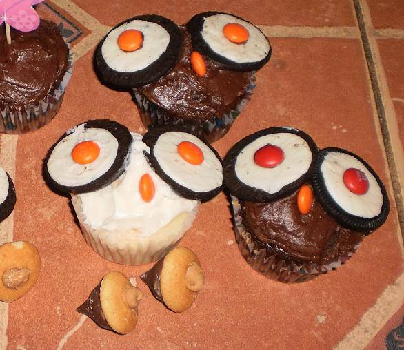 Kitsch Confections - Chocolate and white cupcake owls with candy acorns are a big hit at kids' outdoor themed parties and events