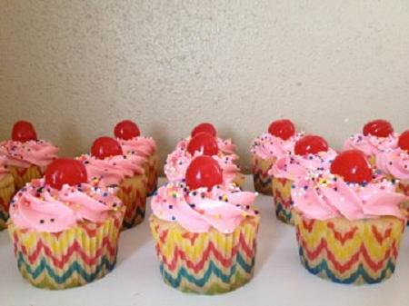 Kitsch Confections - Festive pink cupcakes, each complete with sprinkles and a cherry on top