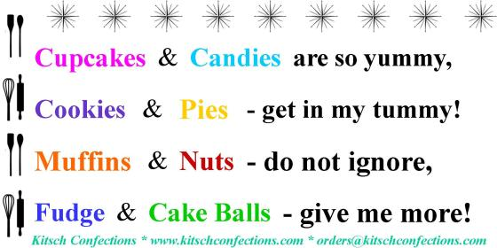 Kitsch Confections Product Poem
